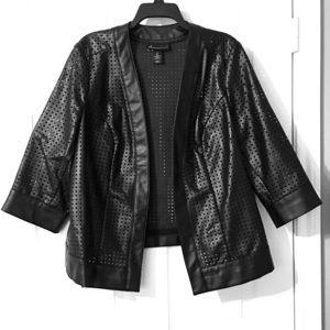 Black Leather Jacket Blazer Lane Bryant 20 Plus Sz